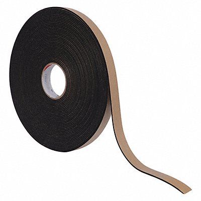 Water-Resistant Closed Cell Foam Strip Neoprene-EPDM-SBR 1 Thick 1 W X 25 ft L Black
