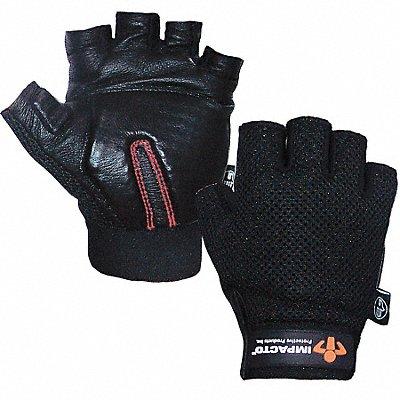 Anti-Vibration Carpal Tunnel Gloves Leather Palm Material Black 1 PR