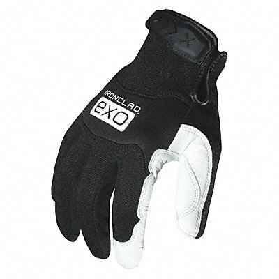 Leather Mechanics Gloves Genuine Goatskin Leather Palm Material Black/White XL PR 1