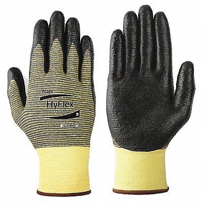 Nitrile Cut Resistant Gloves ANSI/ISEA Cut Level 2 Kevlar? Lining Black Yellow M PR 1