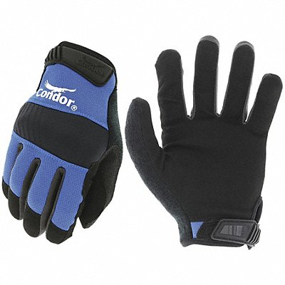 General Utility Mechanics Gloves Synthetic Leather Palm Material Blue L PR 1