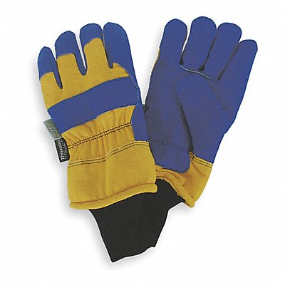 Cold Protection Gloves Waterproof and Thinsulate Lining Safety Cuff with Knit Wrist Cuff Blue/Yel