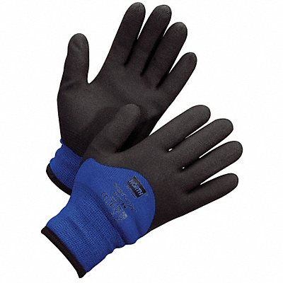 PVC Coated Gloves ANSI/ISEA Cut Level 2 Lining Black Blue L PR 1