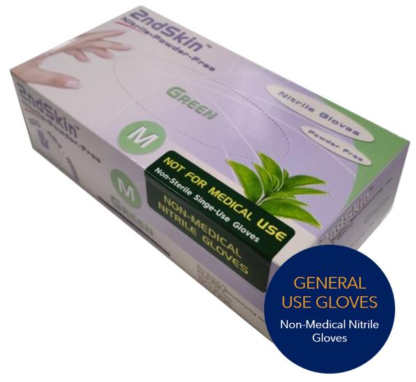 Non-Medical Nitrile Gloves, Green, Size Medium or Large, 100 Gloves per Box, 10 Boxes per Case, 100