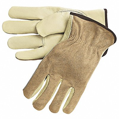 Cowhide Leather Work Gloves Slip-On Cuff Cream Size M Left and Right Hand