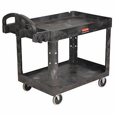 High Density Polyethylene Raised Handle Deep Shelf Utility Cart 500 lb Load Capacity Number of Sh