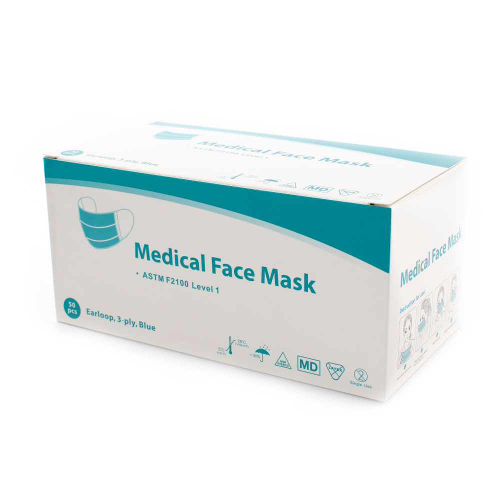 Medical Face Mask Level 1 - Soft Oval Braid Earloops, 3 Ply, Box of 50 or Case of 1,000