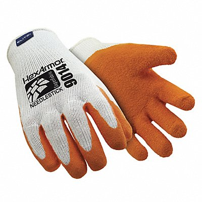 Natural Rubber Latex Needlestick-Resistant Gloves ANSI/ISEA Cut Level A9 Lining Orange White L