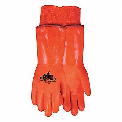 Cold Protection Gloves Foam/Polar Fleece Lining Knit Wrist Cuff Hi Viz Orange L PR 1