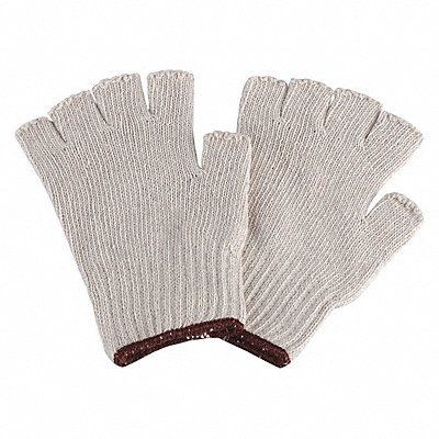 Knit Gloves Polyester/Cotton Material Knit Wrist Cuff Natural Glove Size S