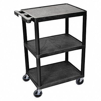 Thermoplastic Resin Flat Handle Utility Cart 300 lb Load Capacity Number of Shelves 3