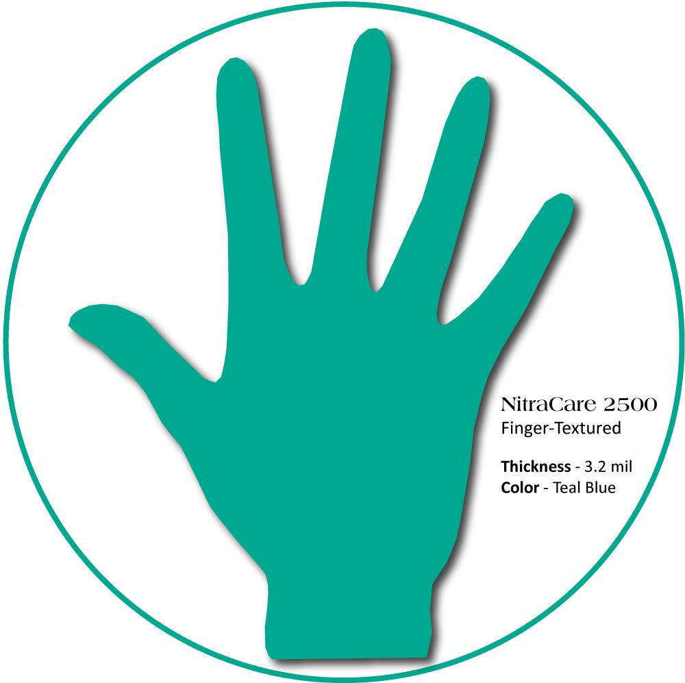 Medgluv NitraCare Mint Nitrile Exam Gloves, 3.2mil Fingertip textured, Chemo, Teal Blue, 250/box, 2