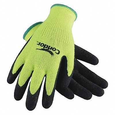 10 Gauge Crinkled Natural Rubber Latex Coated Gloves Glove Size L High Vis Yellow/Black