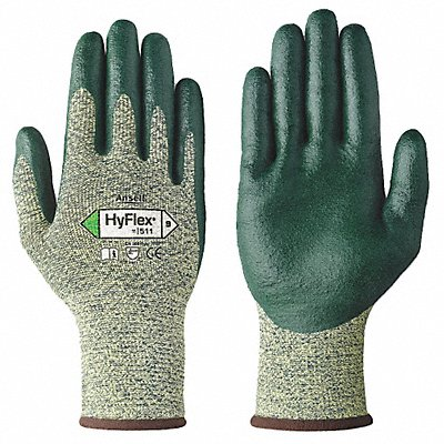 Nitrile Cut Resistant Gloves ANSI/ISEA Cut Level 4 Stainless Steel Lining Green Yellow L PR 1