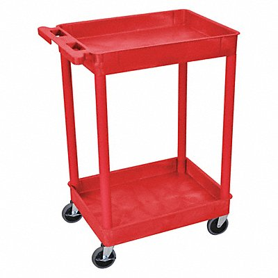 Thermoplastic Resin Flat Handle Utility Cart 300 lb Load Capacity Number of Shelves 2