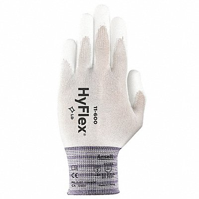 15 Gauge Smooth Polyurethane Coated Gloves Glove Size 6 White/White