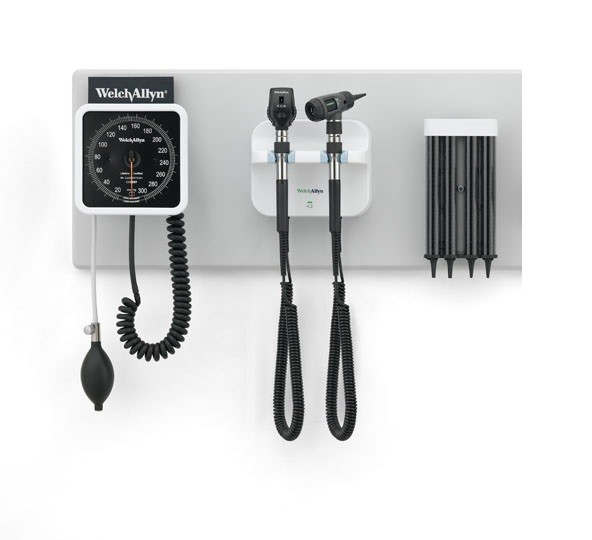 Welch Allyn Green Series 777 Integrated Wall Diagnostic System W/ Sphygmomanometer, Ophthalmoscope,