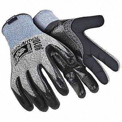 Nitrile Cut Resistant Gloves ANSI/ISEA Cut Level A8 HPPE Fiberglass Lining Gray Blue XL PR 1
