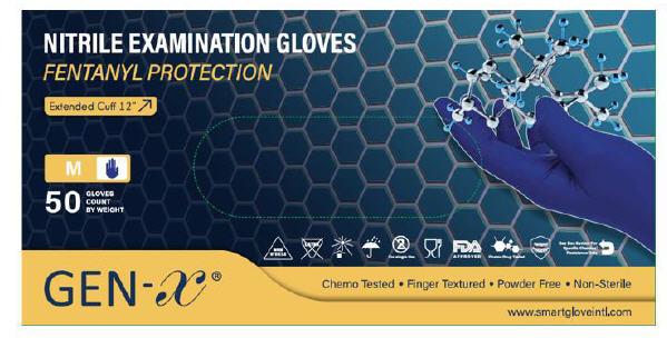 """12"""" 6-7 mil Nitrile Chemo Gloves, Powder-Free (Dark Smart Blue)  $0.29 per glove (Small, Medium, La"""