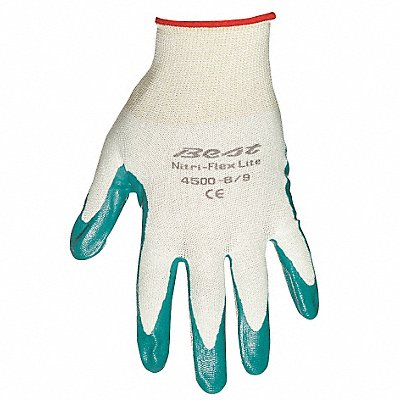 13 Gauge Smooth Nitrile Coated Gloves Glove Size M Light Green/Green