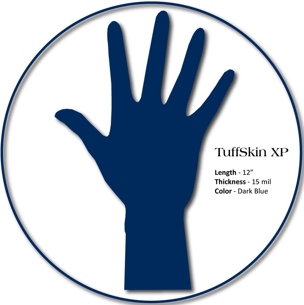 "Medgluv TuffSkin XP Latex Exam Gloves, 12"" 15mil thick, Hi-Risk, Dark Blue, 50/box, 500/case"