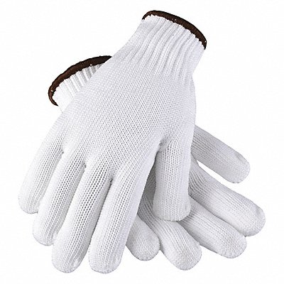Knit Gloves Polyester Material Knit Wrist Cuff White Glove Size L