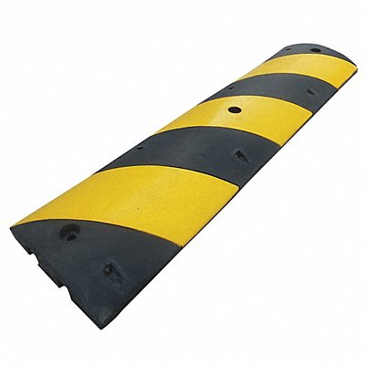 Speed Bump Rubber 6 ft x 2-1/4 x 12  Black/Yellow 725 psi