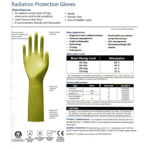 USAXRAY Radiation Protective Sterile Surgical Gloves- Lead Free And Non Toxic, Powder Free, Natural