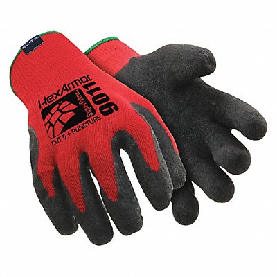 Natural Rubber Cut Resistant Gloves ANSI/ISEA Cut Level A7 SuperFabric? Lining Black Red L PR