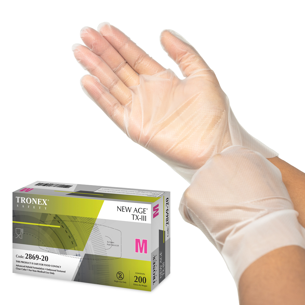 Tronex New Age TX-III Advanced Hybrid Disposable Gloves, Food Safe, Value Pack