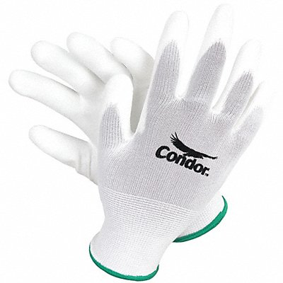 13 Gauge Smooth Polyurethane Coated Gloves Glove Size L White/White