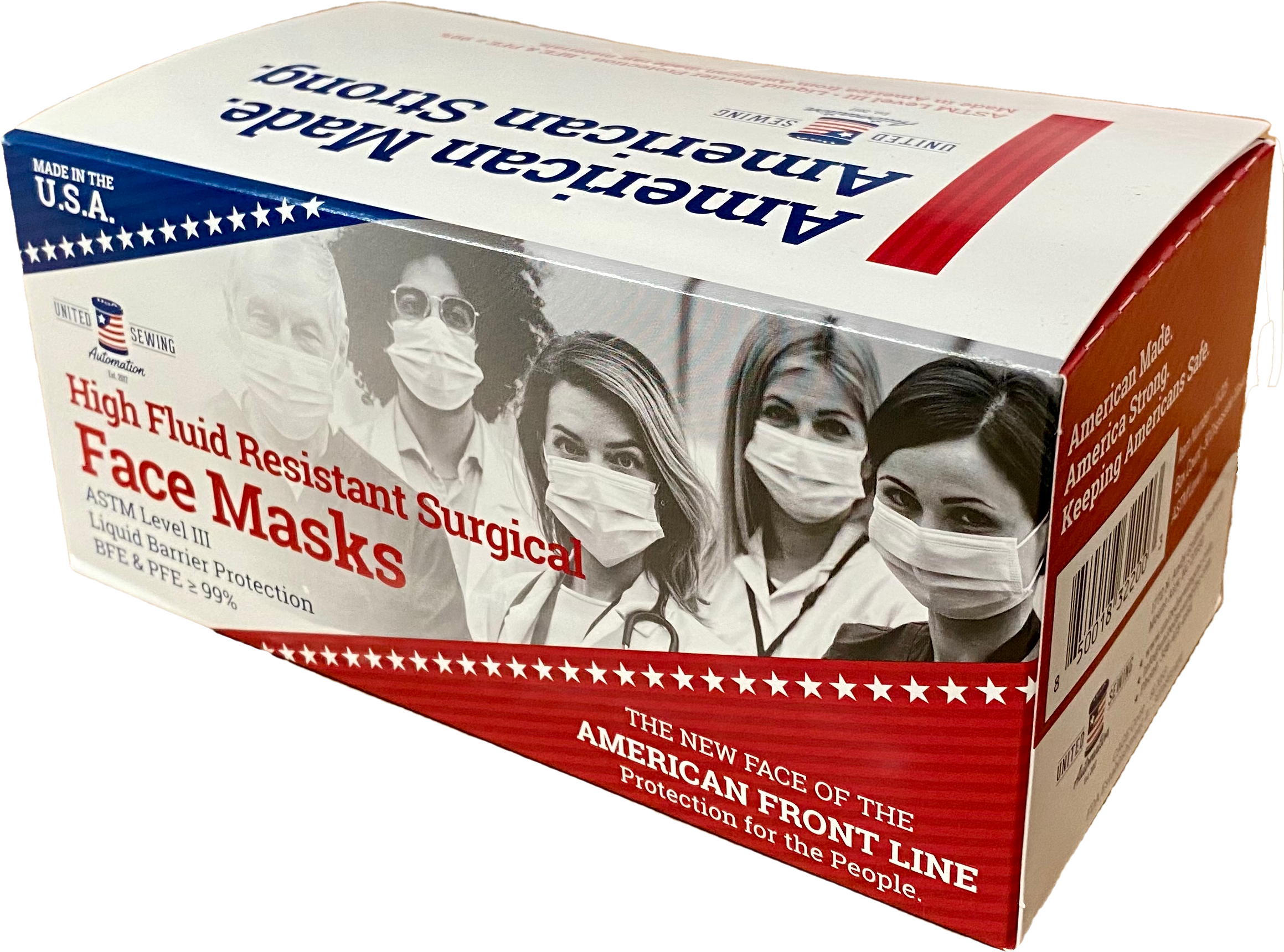 MADE IN USA - ASTM Level 3 -510K FDA- 3-ply Disposable Face Masks - Box of 50 masks