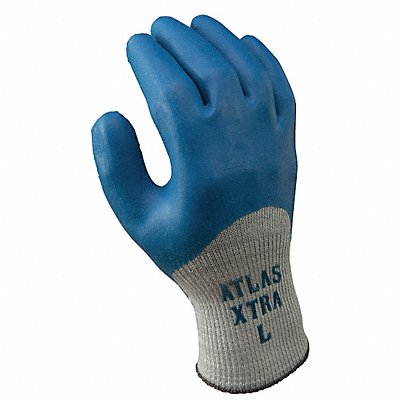 10 Gauge Rough Natural Rubber Latex Coated Gloves Glove Size XL Blue/Gray