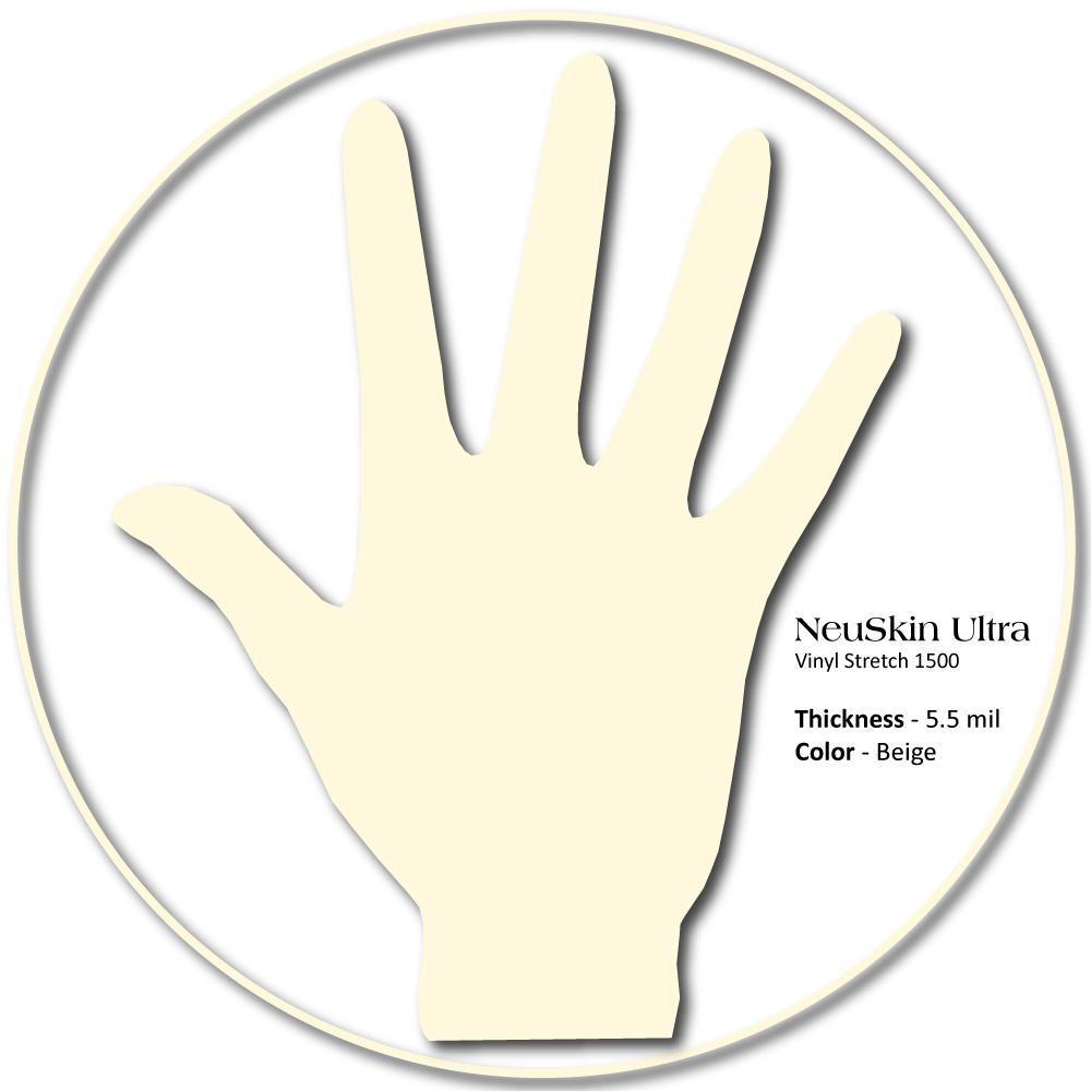 NeuSkin Ultra Synthetic Vinyl Exam Gloves,Stretch Powder-Free, Beaded cuff, 150/bx, 1500/cs