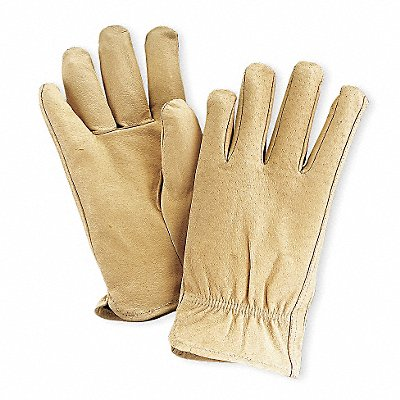 Pigskin Drivers Gloves Shirred Wrist Cuff Tan Size XL Left and Right Hand