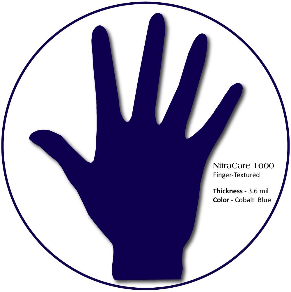 Medgluv NitraCare + Nitrile Exam Gloves, Finger-textured, Chemo Tested, Cobalt Blue,  100/box, 1000