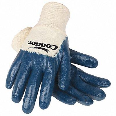 Flat Nitrile Coated Gloves Glove Size L Natural/Blue
