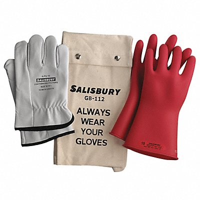 Red Electrical Glove Kit Natural Rubber 0 Class Size 8