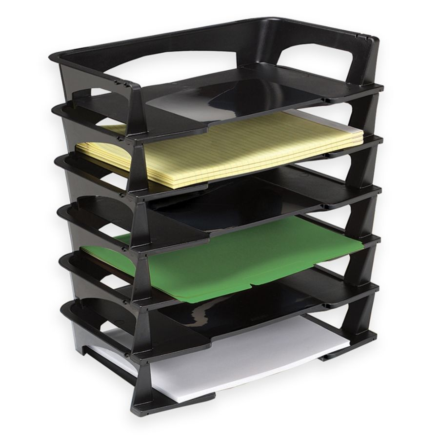 "Brenton Studio Stacking Desk Trays, 2 1/2""H x 15 1/4""W x 8 3/4""D, Black, Pack Of 6"