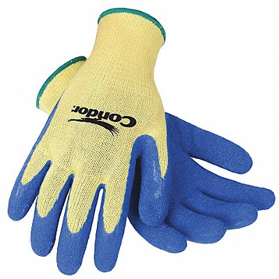 Natural Rubber Latex Cut Resistant Gloves ANSI/ISEA Cut Level 3 Kevlar? Lining Blue Yellow XL