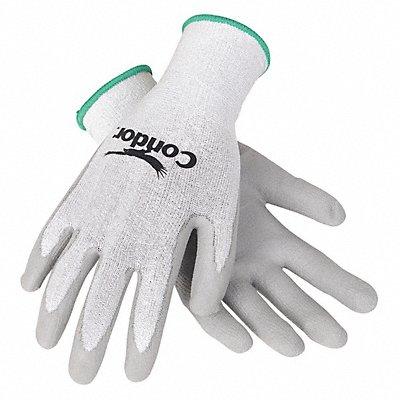Polyurethane Cut Resistant Gloves ANSI/ISEA Cut Level 2 HPPE Lining Gray White L PR 1