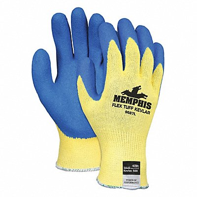 Natural Rubber Latex Cut Resistant Gloves ANSI/ISEA Cut Level A3 Kevlar? Lining Blue Yellow L