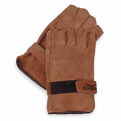 Goatskin Leather Work Gloves Hook-and-Loop Cuff Brown Size L Left and Right Hand
