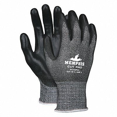 Polyurethane Cut Resistant Gloves ANSI/ISEA Cut Level 2 HPPE Lining Black Salt and Pepper L PR