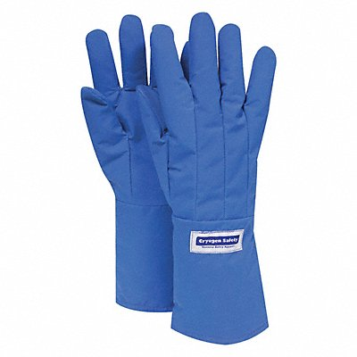 Elbow Length Water Resistant Cryogenic Gloves Laminated Nylon Material 14 L Blue Glove Size L