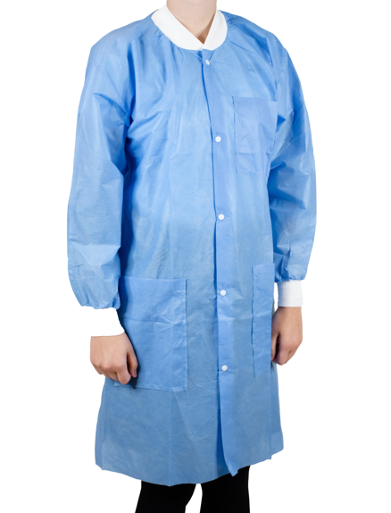 Disposable Lab Coats, Knee Length, Blue, Size Small, Medium, Large, X-Large, and XX-Large Available