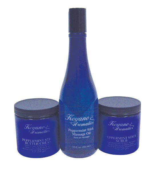 Keyano Peppermint Stick Package - Butter Cream, Body Scrub & Massage Oil