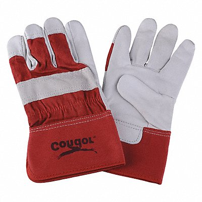 Goatskin Leather Work Gloves Safety Cuff Red/White Size XL Left and Right Hand