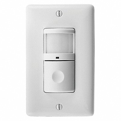 Wall Switch Box Hard Wired Vacancy Sensor with Nightlight 1200 sq. ft Passive Infrared White