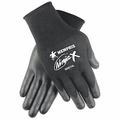 15 Gauge Flat Biopolymer Coated Gloves Glove Size L Black